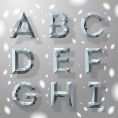 Grey fractal geometric alphabet, vector Eps10 Illustration.