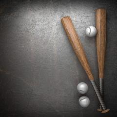 Baseball and metal wall background