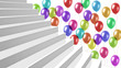 white glossy stairs with colorful balloons on background