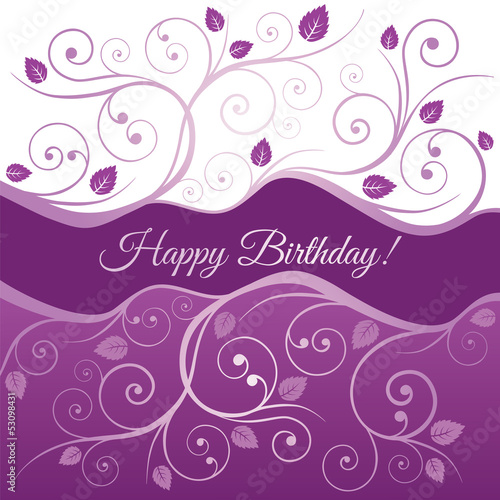 Happy Birthday card with pink and purple swirls