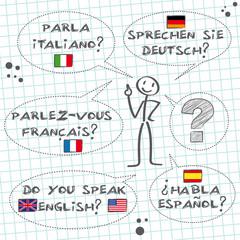 """""""Schulheft, Linien, Sprechen Sie.../Do you speak..."""""""