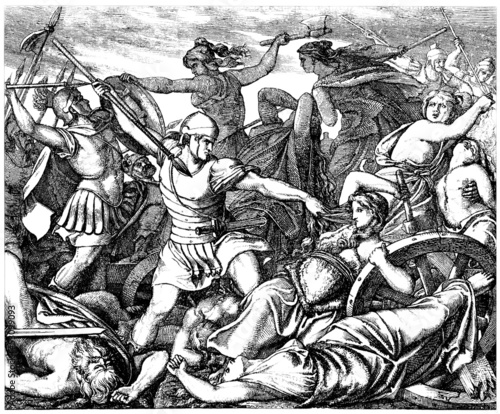 Barbarian Women Fighting against Roman Invaders