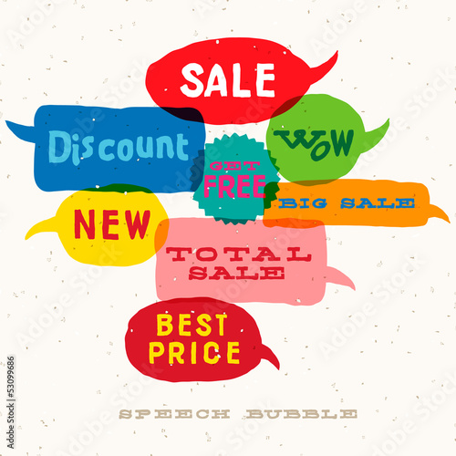 Sale multicolored speech bubbles, vector Eps10 image.