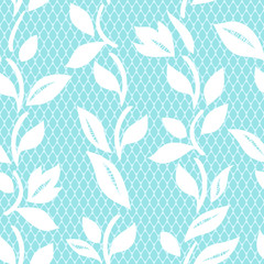 White and blue lace and leaves floral seamless pattern, vector