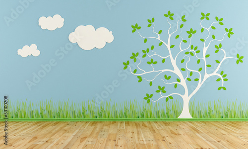 Empty child room with stylized tree and clouds