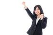attractive asian businesswoman cheering