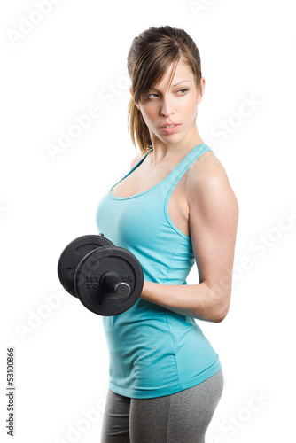 Fitness girl with dumbbell