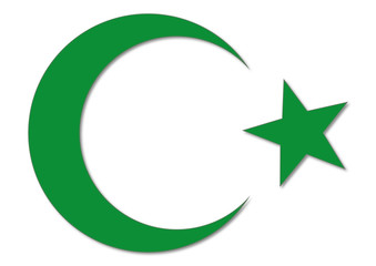 Symbol, Islam, Halbmond und stern, grün