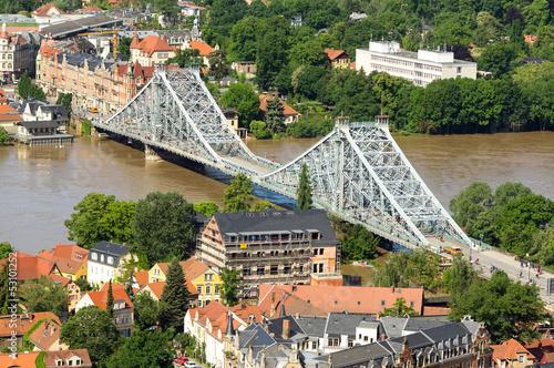 Dresden Blaues Wunder areal during inundation 2013, Elbe 840cm h - 53101252