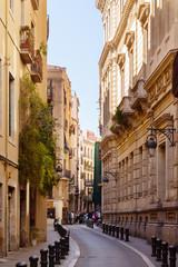Street in old European city -Barri Gotic.  Barcelona