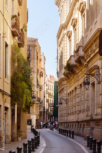 Street in old European city -Barri Gotic.  Barcelona