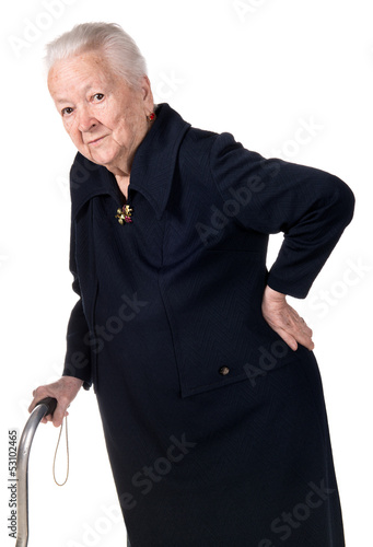 Old woman holding her lower back
