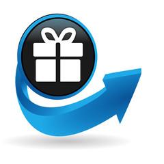 cadeau sur bouton flèche bleue