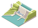 Isometric hydroelectric power station