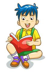 Reading boy isolated.