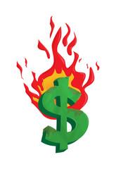 burning dollar money vector business concept  illustration