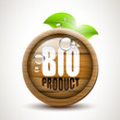 BIO product - glossy wooden icon