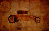 grungy vintage travel background with oldsmobile poster