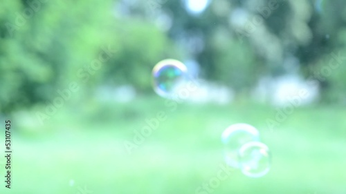 Soap bubbles floating around shooting with high speed camera