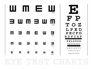 Snellen eye test charts
