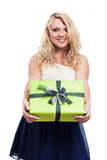 Beautiful cheerful woman with gift