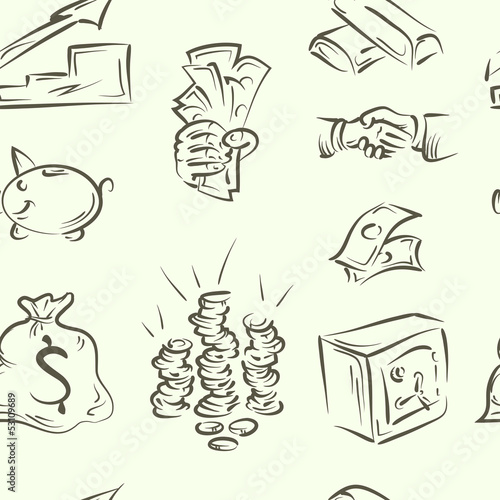 seamless pattern. finance doodle set