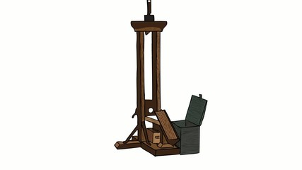 Guillotine on white background