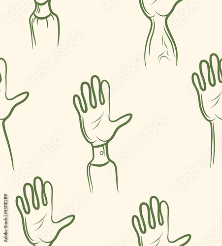 doodle volunteer arm set .Seamless pattern