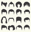 Vector Set: Men's Hairstyle Silhouettes - 53110468
