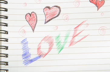 Love Written in Notebook.