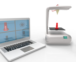 Computer and Printer 3D