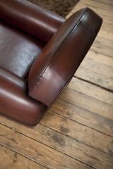 Fauteuil, cuir, club, siège, assise, meuble, plancher