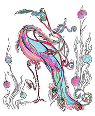Magical stork, swallow fish.