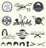 Fototapety Vector Set: Retro Barber Shop Labels and Icons