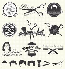 Vector Set: étiquettes rétro Barber Shop et icônes
