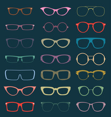 Vector Set: Vintage Glasses Silhouettes