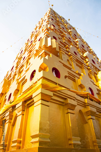 golden pagoda at buddhist temple in Kanchanaburi Province, Thail