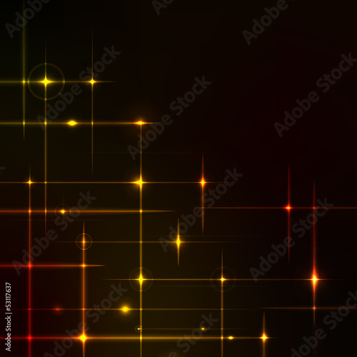 Golden stars over dark background.