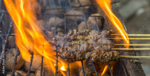 Beef satay on the barbecue grill