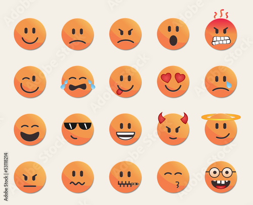 orange clean emoticon set
