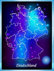 Deutschlandkarte mit Bundesländern im Neondesign