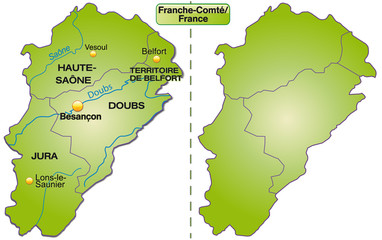 Karte der Region France-Comté mit Departements
