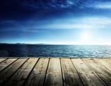 Fototapety Caribbean sea and wooden platform