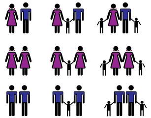 Ehepaare und gleichgeschlechtliche Paare mit Kindern