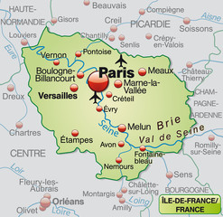 Umgebungsarte der Region Île-de-France in Frankreich