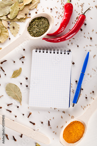 notebook and pen to write recipes
