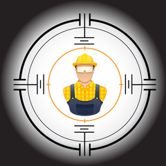 vector illustration of a Worker in a target