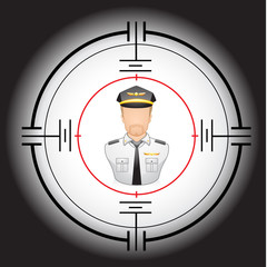 vector illustration of a Pilot in a target