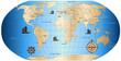 Altertümliche Weltkarte
