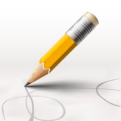 Simple pencil on white background, vector Eps10 illustration.